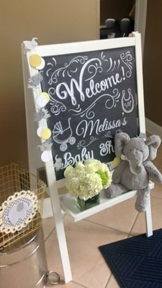 Welcome Chalkboard Easel Baby Shower Elephant  Yellow and gray