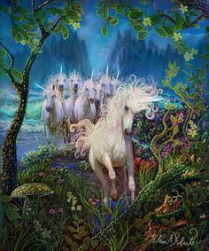 Il mondo di Mary Antony: Fantasy art di Steve A Roberts - digital Fantasy Unicorn, Diy Unicorn, Unicorn And Fairies, The Last Unicorn, Unicorns And Mermaids, Unicorn Horse, Magical Creatures, Fantasy Creatures, Beautiful Creatures