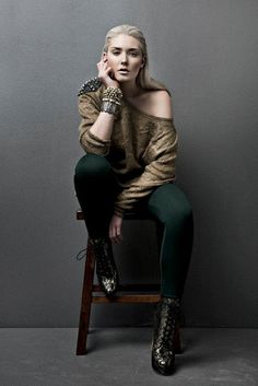 Twins  Photographer: Britta Kokemor  Stylist: Carmen Tsang  MUAH: Sarah Bryne  Models: Veronica, I Model Management  Spikes, oversized sweater, green, leggings