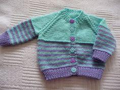 Purple and aqua baby cardigan Boys Knitting Patterns Free, Baby Cardigan Knitting Pattern, Baby Boy Knitting, Knitting For Kids, Baby Patterns, Free Knitting, Crochet Baby, Knit Crochet, Baby Sweaters