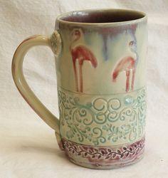 ceramic flamingo coffee mug 16oz  stoneware 16B026.  via Etsy.