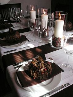 Natural, Fall Tablescape: The chocoloate brown color is gorgeous! http://www.hgtv.com/decorating-basics/our-favorite-fall-decorations/pictures/page-31.html?soc=pinterest #howtodecorateweddingcandles