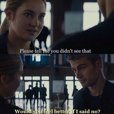 ~Divergent~ ~Insurgent~ ~Allegiant~ I loved this part I wish it actually happened instead of just in her fear landscape Divergent Memes, Divergent Hunger Games, Divergent Fandom, Divergent Trilogy, Divergent Insurgent Allegiant, Divergent Movie Scenes, Divergent 2014, Tris Et Tobias, Divergent Theo James
