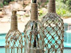 diy macramé, piscine extérieur, nature, bouteille en verre, décoration macramé