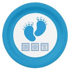 Adorable Boy Blue Baby Feet - Gender Reveal Paper Plate - shower gifts diy customize creative