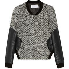 Thakoon Addition Leather-sleeved tweed bomber jacket ($720) ❤ liked on Polyvore featuring outerwear, jackets, tops, sweaters, black, casual jackets, thakoon addition, bomber jacket, flight jacket and tweed jacket