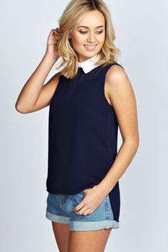 Kelly Woven Contrast Collar Sleeveless Blouse