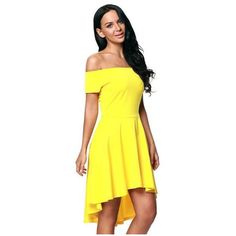 Off The Shoulder Gorgeous Yellow Elegant Slim Fitting Skater Dress ❤ liked on Polyvore featuring dresses, yellow skater dress, skater dress, off the shoulder dress, yellow off shoulder dress and yellow dress