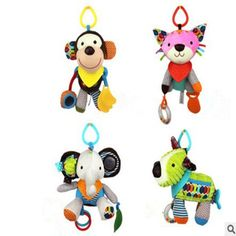 Large size 30cm Baby Girl/Boy toys Multi-functional Bed bell&Hand ringing with Teether Lovely Plush animal dolls pendant