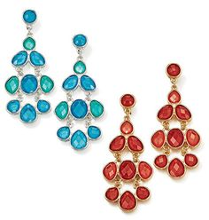 Avon Bold Faceted Pierced Post Chandelier Earrings Turquoise or Coral #Avon #Chandelier