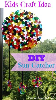 This DIY Sun Catcher is super simple to make and a great project to do with the kiddos!
