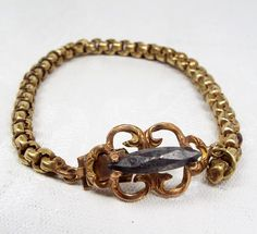 Sale! Antique Georgian Gold Pinchbeck and Cut Steel Attractive Detailed Chain Bracelet