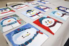 step by step directions on how to paint a snowman on canvas Art For Kids, Crafts For Kids, Snowmen At Night, Family Crafts, Jingle All The Way, Winter Art, Art Party, Christmas Crafts, Xmas