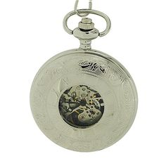 Boxx Mechanical Silver Tone Gents Skeleton Pocket Watch on 12 Inch Chain Boxx191