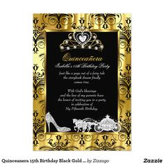 Quinceanera 15th Birthday Black Gold Damask 2 Card