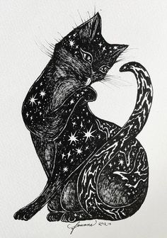 Starry black cat shared by on We Heart It I Love Cats, Crazy Cats, Black Cat Art, Black Cats, Black Kitty, Illustration Art, Illustrations, Cat Drawing, Cat Tattoo