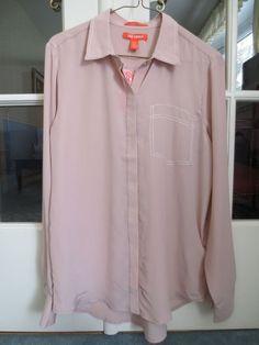 NEW! Joe Fresh 100% Silk Button Down Shirt Pink Faux Pocket S Long Sleeve $59NWT #JoeFresh #ButtonDownShirt #Career