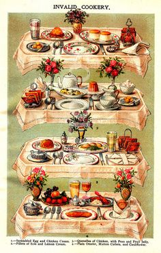 Invalid Cookery - Scrambled Egg, Quenelles of Chicken, Fillet of Sole, Plain Omelet, Mutton Cutlets and Cauliflower. Retro Recipes, Vintage Recipes, Vintage Images, Vintage Art, Vintage Food, Retro Food, Victorian Recipes, Grand Art, Mrs Hudson