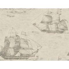 Texture Passport Ghost Ships GX8170 Island White-Black Wallpaper