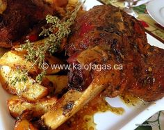 Greeks know their way around lamb and we unabashedly cook it well and I mean well done. Do not confuse well done with dry, hard to chew meat. You are not going to experience this here. I treat a le… Greek Leg Of Lamb Recipe, Slow Cooked Greek Lamb, Roast Recipes, Slow Cooker Recipes, Best Greek Food, Slow Roast Lamb, Greek Cooking, Slow Cooking, Cooking Cake