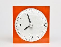 Retro Wall Clock / Orange-Red Clock by Krups / 70's Germany