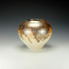 Horse hair Raku pottery. Hand made. Wheel thrown.  Ready to ship.