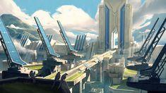 Solarpunk by Steven WongMy entry for the Atomhawk Solarpunk competition :) Fantasy City, Fantasy Castle, Fantasy Places, Fantasy World, Futuristic City, Futuristic Design, Futuristic Architecture, Fantasy Landscape, Urban Landscape