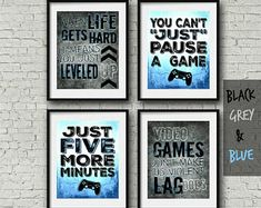 Set of four Video Game Posters - Playstation Controller - Blue - 8x10- A4 - Playstation Bedroom - PS - Teen boy bedroom - game room wall art