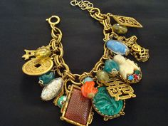 Vintage 17 Charm Asian Theme Multicolor Goldtone by LaceyDeville