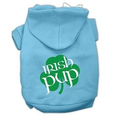 Irish Pup Screen Print Pet Hoodies Baby Blue Size Med (12)
