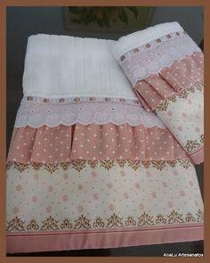 AnaLu Artesanatos: Jogo de toalhas Carmelita: