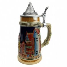 German Village Collectible Beer Stein with Metal Lid