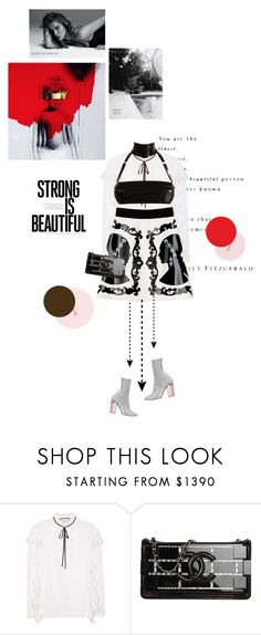 """Strong is beautiful"" by girl-with-ideas ❤ liked on Polyvore featuring Gucci, Christian Dior, Atsuko Kudo, Chanel, ADAM and WallPops"