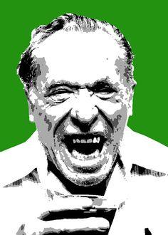Quadro moderno Charles Bukowski stile pop art dipinto a mano NO STAMPA ritratto arredamento design regalo