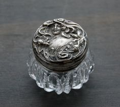 Antique Art Nouveau Cut Crystal Vanity Jar Sterling Silver Lid - Antique Dresser Jar by MintAndMade