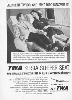 "Elizabeth Taylor and Mike Todd discover siesta sleep seats in the ""lucky Liz"" airplane owned by Todd. The same plane that he was killed in due to icy winds over new Mexico."