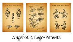 Angebot: 3 Lego Patent Drucke, Kreide, Print, A4 von patente-kunst auf DaWanda.com