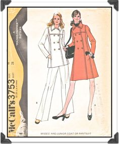 McCALL'S Pattern 3753 - Misses' Double-Breasted Pea Jacket or Pea Coat and Pants - Sz 16 B38 - Uncut/FF - Vintage 1970s. $8.50, via Etsy.
