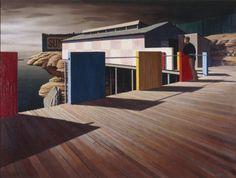 'Coogee Baths, Winter' by Australian artist Jeffrey Smart x 93 cm. via WikiArt Australian Painting, Australian Artists, Charles Sheeler, Jeffrey Smart, Moving To Italy, Smart Art, A Level Art, Contemporary Artists, Modern Art
