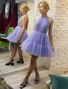 Unique A-Line Halter Short Homecoming Dress #homecomingdresses #shorthomecomingdresses #fashiondresses #graduationdresses