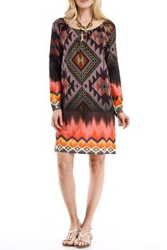 Printed Multi Color Print Tunic Dress | USTrendy www.ustrendy.com #ustrendy