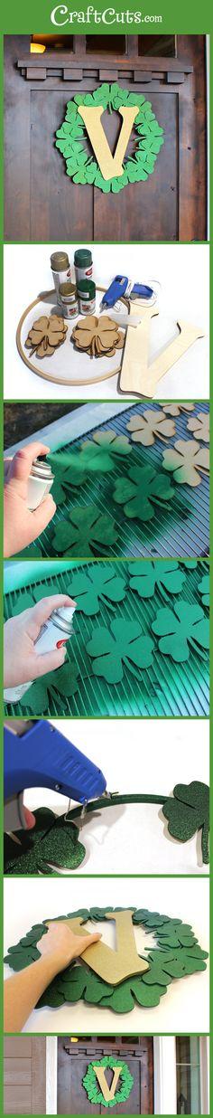 Clover Monogram Wreath | St. Patrick's Day Wreath | CraftCuts.com