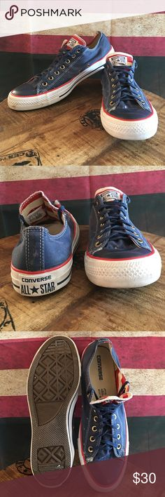 Converse American Flag size 11 Pre owned Converse All Star Chuck Taylor shoes in great condition! There are a some bleach spots on them (see pictures). Inside the shoes has an eagle and red&white stripes. The soles are in excellent condition, the stitching is in excellent condition and the insides are in excellent condition!  Yes I say everything is in excellent condition but I start off saying great condition, that is only because of the few bleach spots. Made in Vietnam, men's 11.  Smoke…