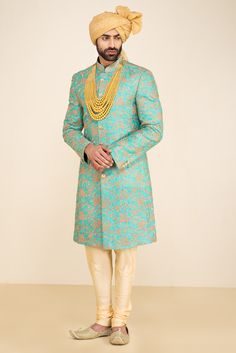 CINNIC Turquoise Blue Sherwani With Beige Chudidar Get the outfit for Manufacturer rate call or WhatsApp at Blue Sherwani, Sherwani Groom, Mens Sherwani, Wedding Sherwani, Wedding Dresses Men Indian, Wedding Outfits For Groom, Wedding Dress Men, Wedding Suits, Mens Indian Wear
