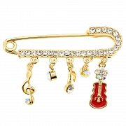 Golden Music Note And Violin Pin Brooch