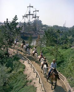 For readers not old enough to have enjoyed the Disneyland mule attraction in one of its three iterations, (Mule Pack from 1955-1959, Rainbow Ridge Pack Mules, and Pack Mules Through Nature's Wonderland from 1960-1973) you can still share some of the nostalgia when riding on Big Thunder Mountain Railroad. The town of Rainbow Ridge, once home to the mules carrying would-be cowboys and cowgirls like myself, still stands in the shadow of the mountain.