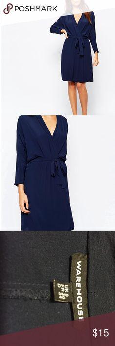 Warehouse  navy blue kimono dress 3/4 sleeve. Super flattering faux wrap style. Without sash/belt. Fits J.Crew 00 - 0, or Ann Taylor 0P- 2P Warehouse Dresses Mini