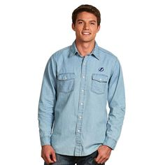 Men's Antigua Tampa Bay Lightning Chambray Button-Down Shirt, Size: