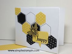 handmade card from simplestampin,com ... bee happy ... stamped and punched hexagons cascade diagonally down the card ... punched bee and a talk balloon .. black, white and yellow ... envelope with yellow polka dot paper to match ... luv the crisp look of this card ... Stampin' Up!