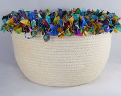Multi Colored Coiled Fabric Basket